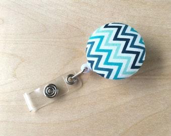 Retractable Badge Reel Holder - Blue Ombre Chevron