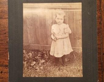 Little Girl Vintage Victorian Cabinet Card Studio Portrait