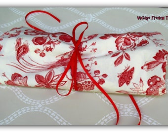 Vintage French Cotton Toile - Red Cotton - Fabric -Summer Curtains-Sofa Pillows