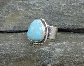 Turquoise Ring, Size 7, Handmade Sterling Silver, Nevada Turquoise, Lone Mountain Turquoise, Turquoise Jewelry, Statement Ring, Handmade
