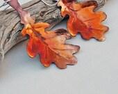 Copper Oak Leaf Earrings Burnt Orange Patina Handmade