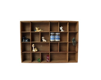 Small Wooden Curio Shadow Box, Wooden Wall Display Box 20 Compartments