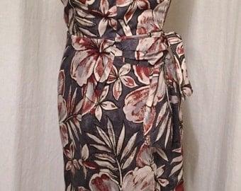 Vintage 1950s inspired Hawaiian sarong halter dress hibiscus flowers XS s xl xxl VLV rockabilly Viva