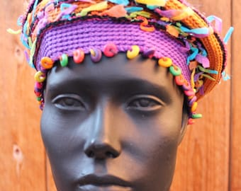 Purply Colorful Crocheted Hat with Wooden Beads...