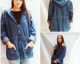 90s Denim Jacket Womens Zip Up Hoodie Denim Jacket DRAWSTRING Hooded Bill Blass