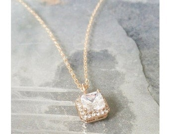 Halo Necklace, CZ Halo Necklace, Gold CZ Halo Necklace, Gold Halo Necklace, Gold CZ Necklace