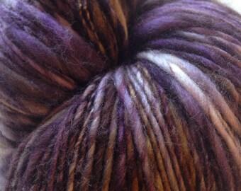 TWILIGHT COCOA  Merino Handspun Yarn Purple & Brown