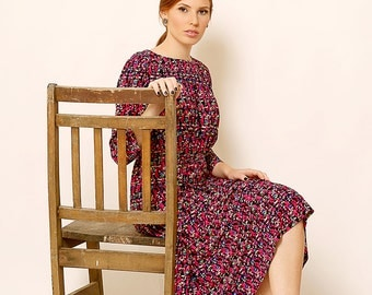 Black midi dress - Holiday dress with print - Modest dress with sleeves