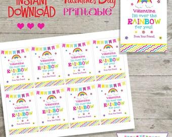 Valentine Rainbow - Printable Valentine's Day Cards - INSTANT DOWNLOAD