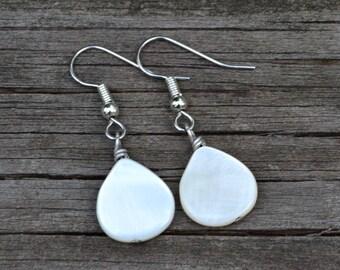 White Mother of Pearl Teardrops . Earrings