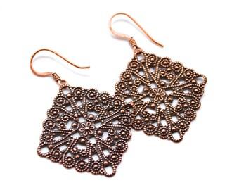 Copper Filigree Diamonds . Earrings