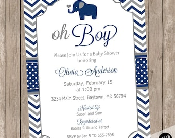 Elephant Oh Boy Baby Shower Invitation Navy and Gray Chevron printable invitation EOBGN