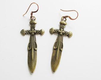 Sword Earrings Antique Brass Tone Sword Charm Earrings Cosplay Steampunk Jewelry
