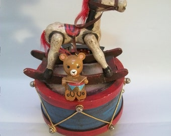 Vintage Music Box, Christmas Music Box, Rocking Horse Music Box, Enesco Music Box, Very Old Vintage Music  Box