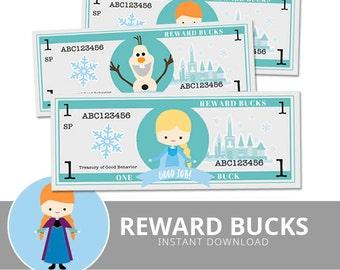Reward Bucks - Snow Princess - Printable