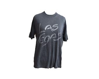 Vintage 80s Las Vegas Tshirt Thin Soft Distressed Black Size Large