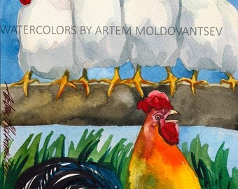 Rooster Chicken Farm Digital Art Print of Watercolor Painting of Yard Birds Instant Download Wall Decor Artwork Image Picture