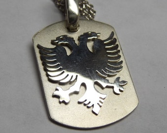 albanian eagle,dog tag '' size 3/4'' sterling silver. Rhodium  plated. eag12