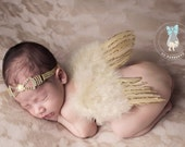 Newborn Gold Angel Wings, Baby Angel Wings Headband Set Newborn Girl - Gold Sparkle Wings and Pearl Bow Head Band Set