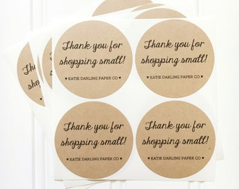 """Custom """"Thank You for Shopping Small"""" Kraft Round Circle Sticker Labels – Etsy Seller Packaging, Shop Small, Thank You Stickers"""