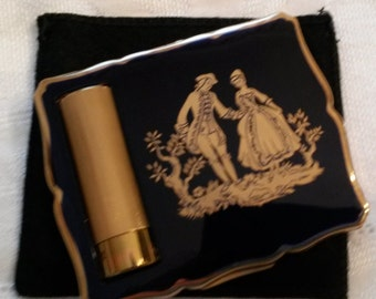 Stratton Powder Compact/Lipstick; Empress; Featuring A Courting Scene on a Cobalt Blue Background circa 1950's-1970's-   DR170