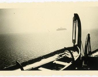 "Vintage Photo ""Ghost Ship Spotted"" Boat Nautical Snapshot Old Antique Photo Black & White Photograph Found Paper Ephemera Vernacular - 118"