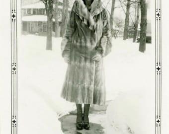 "Vintage Photo ""Staying Warm for Santa"" Fur Coat Snapshot Antique Photo Old Black & White Photograph Found Paper Ephemera Vernacular - 105"