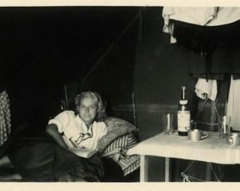 "Vintage Photo ""Tent Beauty"" Snapshot Antique Photo Old Black & White Photograph Found Paper Ephemera Vernacular - 13"