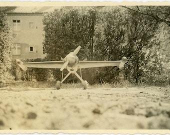 "Vintage Photo ""Ready for the Sky"" Model Toy Snapshot Photo Antique Photo Black & White Photograph Found Photo Paper Ephemera Vernacular - 55"