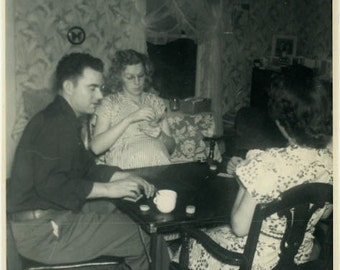 "Vintage Photo ""Pregnant and Playing Poker"" Game Snapshot Old Antique Photo Black & White Photograph Found Paper Ephemera Vernacular - 54"