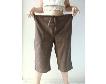 Cotton Wide Leg, Casual Comfy Drawstring Pants, Beach Summer Pants, Maternity Pants, Black, Dark Blue, Brown, Off White