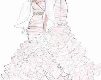Custom Wedding Gown Illustration FRONT and BACK