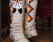 Rez Hoofz Hand Painted Boots size 7 ready  to ship One Of a Kind Only Pair in this Style Boot .. Dont Miss out