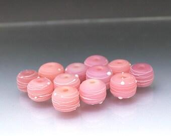 Pink bead set pink lampwork glass beads matte beads etched beads round beads Pink lampwork Pink glass beads cocoon Anne Londez SRA OOAK