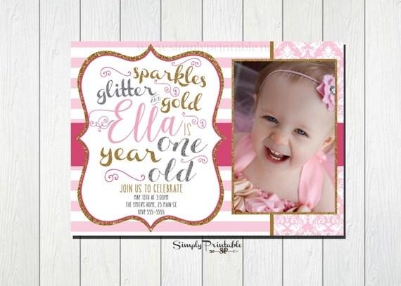 1st Birthday Invitation, Pink Gold Silver, Striped Sparkles Glitter Gold Invitations, First Birthday for Girls