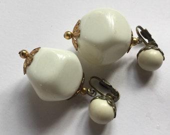 White large dangle lucite filigree earrings  VJSE