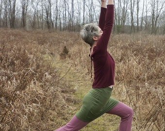 Organic Clothing - Yoga Skirt -High Waisted Short Skirt -  Organic Cotton - Shown in Moss- Made to Order