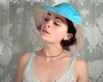 Reversible Teal and Tan Sun Hat, Bucket Hat, 90s