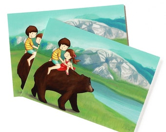 SQUAMISH KIDS POSTCARD - Children's Wall Art Print - Kids Decor - Wall Art Illustration - squamish the chief, bear, siblings -  4.1 x 5.8 in
