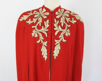 1940s Red, White and Gold Embroidered Full Length Cape