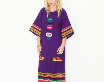 Vintage Embroidered Ethnic Caftan , Ethnic Maxi Dress , Hand Loomed Kaftan
