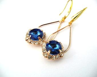 Dangle Gold Earrings, Gold Blue earrings, blue earrings, cobalt earrings, Swarovski blue earrings, rivolli earrings, cobalt blue, elegant