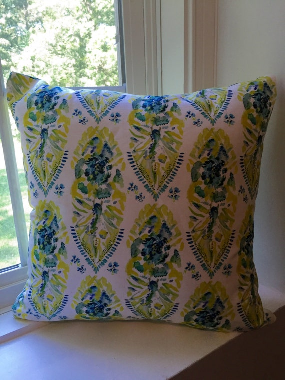 Yellow Decorative Pillow with Lime Green Turquoise and Blue