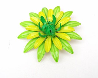 Vintage Metal Flower Brooch / Large Flower Pin, 1960s Citrus Art, Flower Power, Green and Yellow Pin