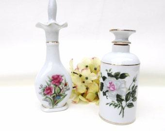 Vintage Perfume Bottles / Porcelain Scent Bottles / Rose Vanity Bottles, Perfume Decanters - Lot of 2