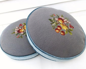 Vintage Decorative Sofa Cushions / Round Needlepoint Accent Pillows / Powder Blue Velour Gray Fruit Decor - Pair