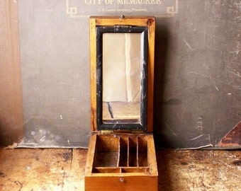 Vintage Handmade Travel Shaving Box with Integrated Mirror - Great Father's Day Gift!