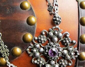 20's  Vintage Gothic Figural Amethyst Necklace Peruzzi