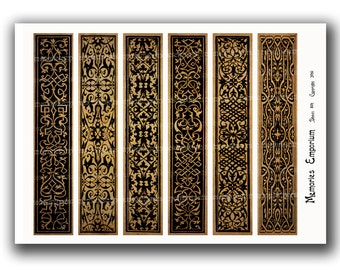Bookmarks Medieval Renaissance Digital Printable Download Black and Tan Strips for Book Lovers Bibliophiles Calligraphy Paper Designs 801