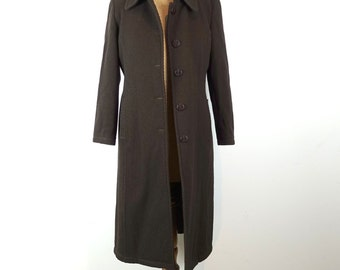 Vintage 1970s Fendi original authentic Italian designer midi length brown diagonal cord wool coat